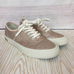 SeaVees J. Crew 8.5 Rose Gold Glitter Sneakers